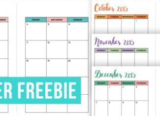 FREE September-December 2015 Month on 2 Pages A5 Planner Printable
