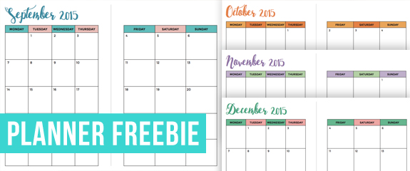 image about A5 Planner Printable named Cost-free September-December 2015 Thirty day period upon 2 Web pages A5 Planner